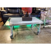 Silver Metal Coffee Table With Glass Top