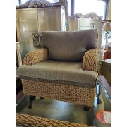 Rope Chair With Green / Brown Cushion