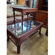 Glass Top Wicker Coffee & One End Table