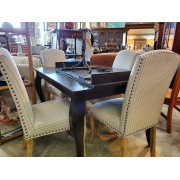 Dark Wood Table With 6 Striped Chairs