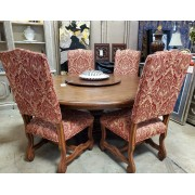 Large Round Wood Dining Table With Six Red Chairs