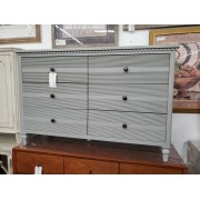 Six Drawer Grey With Lines Dresser