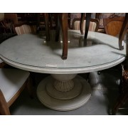 Round Distressed Wood Table Glass Top