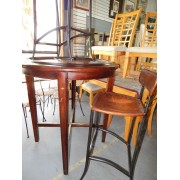 Wood Bistro Table With Two Stools