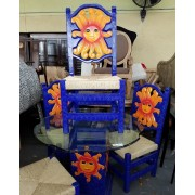 Blue / Sun Wood Dining Table With Four Chairs