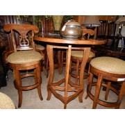Wood Bistro Table / Two Stools