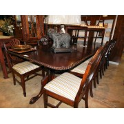 Wood Dining Table / Two Leaves / 12 Chairs