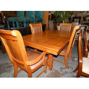 Wood Dining Table / Six Leather Chairs