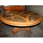 Round Wood / Marble Insert / Wicker Base Table