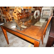 Wood / Glass Top Dining Table - Four Chairs