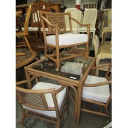 Square Rattan / Glass Dining Table - Four Chairs