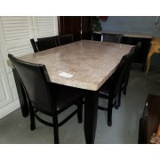 Marble Top Dining Table With 6 Black Chairs