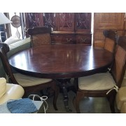 Round Wood Dining Table / Four Chairs