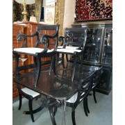 Black / Gold Oriental Table 8 Chairs
