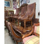 Wood Dining Table / 10 Chairs / 2 Leaves