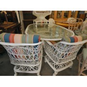 White Fiberglass / Wicker Patio Table
