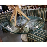 Glass Top Double Base Table / Six Striped Chairs