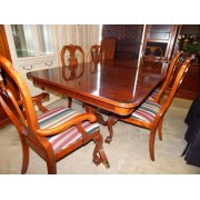 Wood Dining Table With Six Striped Chairs