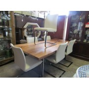 Wood Dining Table / Six White Chairs