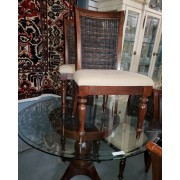 Dark Wicker/Glass Top Table - Four Chairs
