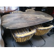 Marble / Metal Base Dining Table With Six Chairs
