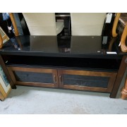 Black/Brown TV Console With Glass