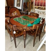 Italian Inlay Game Table / Four Chairs