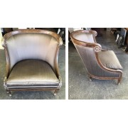 Gray Curved Chair / Wood Trim
