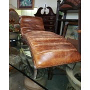 Brown Leather / Metal Lounger
