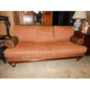 Wicker Sofa / Orange Cushion