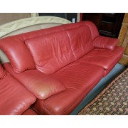 Red Sofa Chair & Ottoman