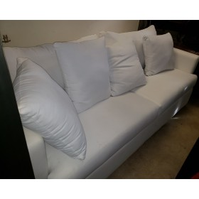 White Fabric Sofa With Pillows