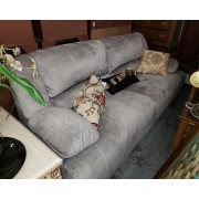 Grey Reclining Fabric Sofa