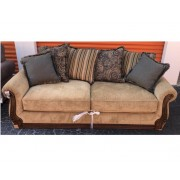 Tan / Wood Sleeper Sofa