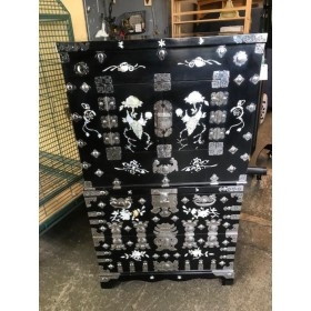 Two Piece Black Asian Stacking Cabinet
