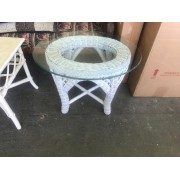 White Wicker Table / Glass Top