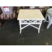 White Rattan Side Table / Formica Top