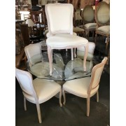 Stone Base / Glass Top Dining Table
