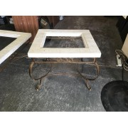 Metal Stone Square Side Table