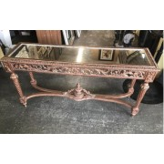Ornate Carved Sofa Table / Mirror Top