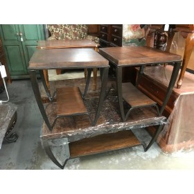 Wood / Metal Coffee & Two End Tables