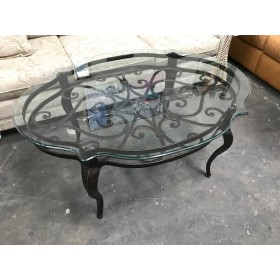 Metal Base With Glass Top Coffee Table