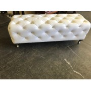 White Tufted Bench With Crystals
