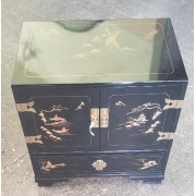 Small Black Asian Two Door Cabinet