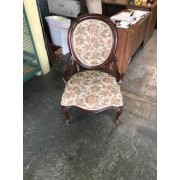 Wood / Floral Round Back Chair