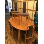 Wood Dining Table Six Chairs Four Leaves