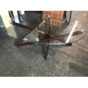 Oval Glass / Wood Coffee Table