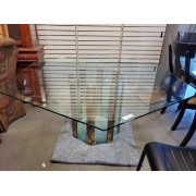 Octagon Glass Top Table / Brass Base
