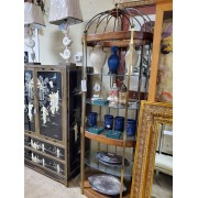 Wood Brass Cage Shelf Etagere