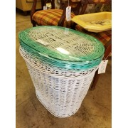White Wicker Hamper / Glass Top